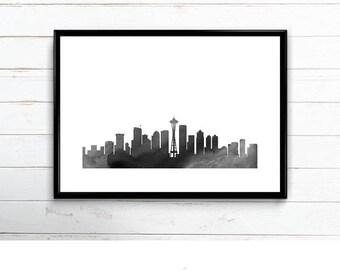 Seattle Skyline Printable - digital download, dorm room art, charcoal and gray watercolor, minimalist art, washington, city art, 24x36