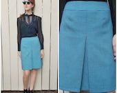 A-line Skirt Houndstooth Blue & Black 90s Small Vintage Skirt XS