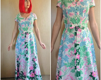 Floral Maxi Dress / Long Vintage Prom Gown 60s 70s XS w/ Cap Sleeves, Bow, Garden Party Flower Print