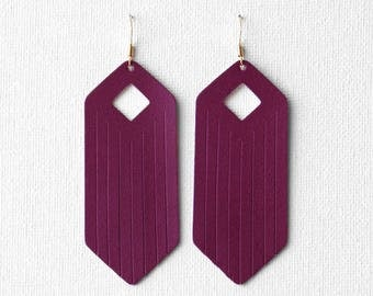 Berry Fringe Leather Drop Earrings