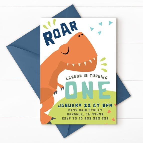 Dinosaur Birthday Invitation Party Invite First DINO 2 BACK