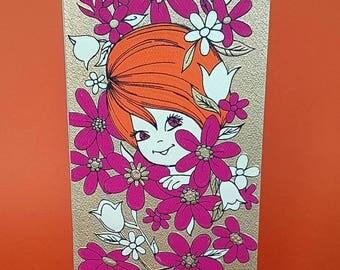 Cute vintage birthday card   Retro floral   Just peeking in to wish you happy birthday