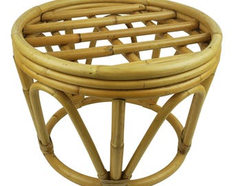 Vintage Round Bohemian Boho Bamboo Rattan Cane Bentwood Drum Side Table Wicker Table Plant  sc 1 st  Etsy : ottoman with stools - islam-shia.org