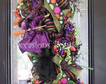 Halloween Door Swag, Halloween Wreath, Halloween Decoration, Witch Wreath, Deco Mesh, Whimsical Wreath, Front door wreath, Ready to Ship