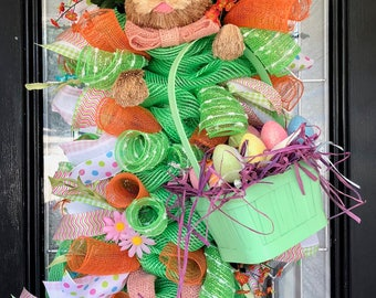 Easter Wreath, Easter Decoration, Door Hanger, Spring Wreath, Bunny Wreath, Front door wreaths, Made to Order