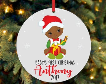 Baby's First Christmas Ornament, Personalized Christmas Ornament, Custom Ornament, African American Christmas Ornament, 2017 Ornament (0042)
