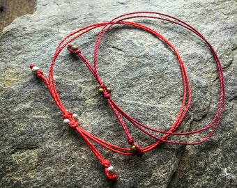 Red string bracelet yoga meditation crimson thread cord boho jewelry kabbalah by Creations Mariposa