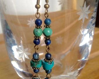 Lapis Lazuli and Turquoise Earrings with Blue Fringe