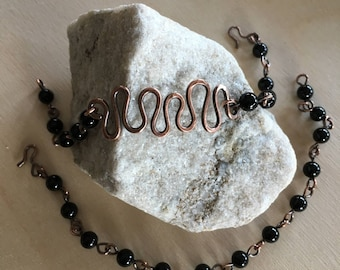 Beaded bracelet - Black Onyx bracelet - Double bracelet - Copper - Link bracelet - Women's Bracelet