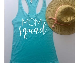Clearance, Mom Squad Fitted Racerback Tank Top,Size Medium, Ships Same Day
