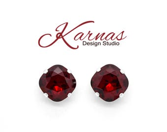 SIAM VELVET RED 12mm Cushion Cut Stud or Drop Earrings Swarovski Elements *Pick Your Finish *Karnas Design Studio *Free Shipping*