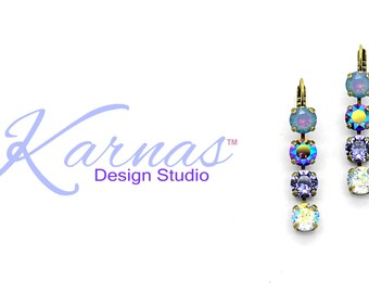 AMETHYST RAINBOW 8MM Drop Earrings Made With Swarovski Crystal *Pick Your Finish *Karnas Design Studio *Free Shipping*