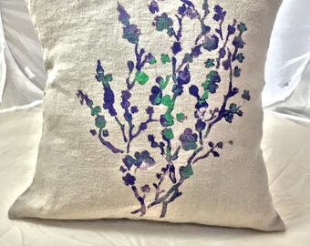 Linen linen cushion 45 cm X 45 cm natural with a delicate Japanese cherry