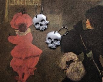 Aluminum Skull Earrings....................................................................................bone jewelry oddities curiosities