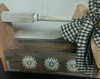 Country Wooden Box, distressed in gray and white
