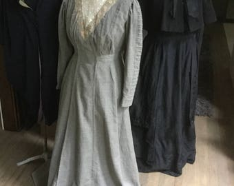 Antique Victorian Day Dress Long Netting Lace Heather Gray Wool