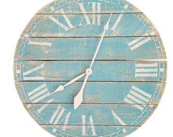 Beach Blue Wall Clock- Farmhouse clock- White Clock- Roman Numeral clock- Pallet Clock- Rustic Clock- Wall clock- Large clock