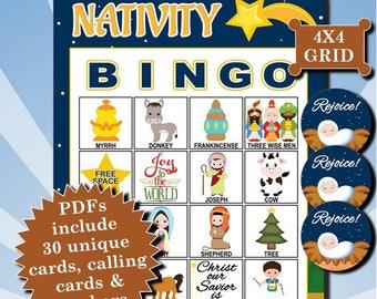 Nativity 4x4 Bingo printable PDFs contain everything you need to play Bingo.