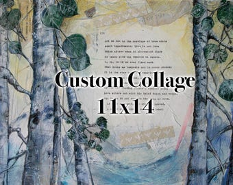 Custom Mixed Media  Collage- 11x14- Personalized Art- Canvas or Paper- Wedding, Anniversary