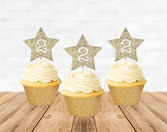 2nd Birthday Cupcake Toppers, Second Birthday Cupcake Toppers, Star Cupcake Toppers, Cake Topper, Cupcake Decorations, Cupcake Picks