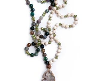 indian agate // druzy pendant necklace