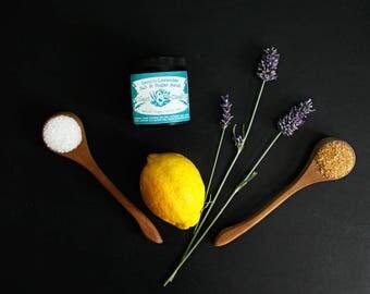 Pure  Lemon-Lavender Half&Half (Ceara Sea Salt and Turbinado Sugar) Scrub in 4oz Amber Jar