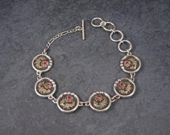 Vintage Sterling Gold Filled Floral Toggle Bracelet 7-8.5 Inches