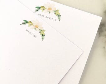Watercolor Flower Thank You Notes - Personalized Stationary Set of 20 Flat Note Cards