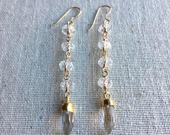 Quartz crystal gemstone gold dangle earrings with quartz crystal spikes