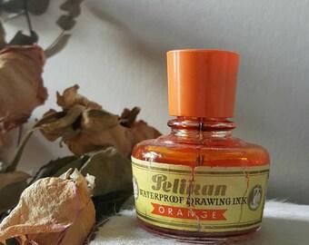 Vintage ink bottle ~ 1950's German 'Pelikan' bright orange writing ink, waterproof drawing ink