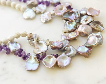 Keshi pearl necklace, Double strand pearl necklace, 25mm pearl, Keishi, Flat baroque pearl necklace, Lilac, Lavender