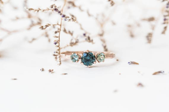 Spinel and Montana sapphire 14k gold twig engagement ring, spinel engagement ring, teal engagement ring, rose gold three stone ring