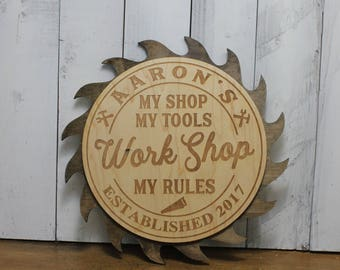 My Shop-My Tools-My Rules-WORK SHOP-Workshop-Personalized-Engraved/Christmas Gift-Dark Stain Saw Blade-TR100060
