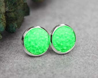 Neon Green Earrings, Lime Green Earrings, Neon Green Stud Earrings, Green Druzy Earrings, Bright Green Earrings, Neon Jewelry, Neon Earrings