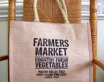 Farmers market tote bag, Burlap tote bag, Stenciled tote bag, Reusable bag, Market bag, FREE SHIPPING!