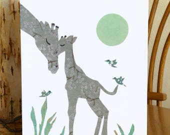 Mother and Baby Giraffe Card, Animal Card, African card, cut paper art, baby greeting card, nursery, kids, african art, children card