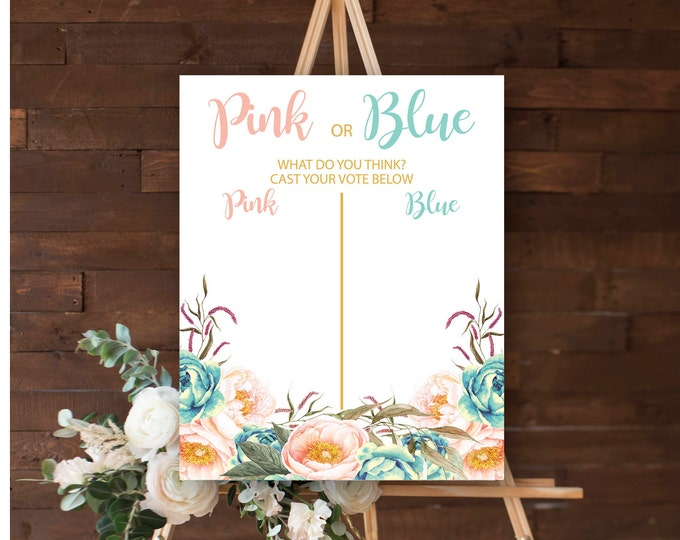 "Gender Guess Poster 16x20"" //Gender Reveal // Peonies // Blue or Pink // Floral // Instant Download // Made to Match our FLORENCE COLLECTION"