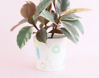 Juliet shapes medium planter - colourful wiggles curves and shapes ceramic pot for indoor or outdoor house plants