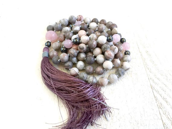 Pink Zebra Jasper Mala Beads, Rose Quartz and Hematite Mala, Mala Necklace To Help Bring Balance, 108 Bead Mala, Silk Tassel, Hand Knotted