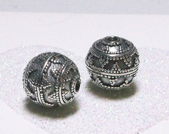 20% OFF SALE Bali Sterling Silver 11.5mm Ornate Focal Bead #1907 - (1)