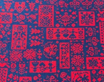 Vintage Fabric, Red and Blue Fabric, Amish Fabric, Vintage Sewing Notions, Vintage Craft Supplies