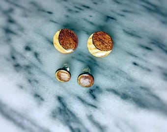 Sapele & Ash Crescent Moon stud post earrings