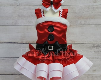 Santa Tutu Dress, Mrs. Claus Tutu Dress, Girls Holiday Dress, Christmas Pageant Dress, Christmas Dress, Santa Dress, Mrs Claus Dress