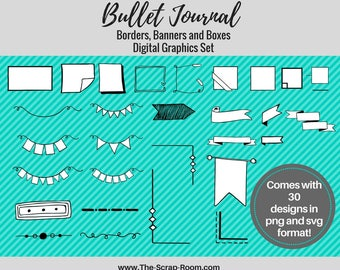 Banners, Borders and Boxes Bullet Journal Graphics Set - 30 designs in  png & svg files, 300 dpi vector graphics, Digital Stamps
