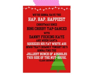 National Lampoons Christmas Vacation Card- Chevy Chase- Hap Hap Happiest Christmas- Clark Griswold- Funny Christmas- Christmas Vacation Card