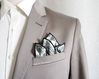 Paisley pocket square with grey black and white, cachemire and floral handkerchief, groom pocket square, wedding accessories