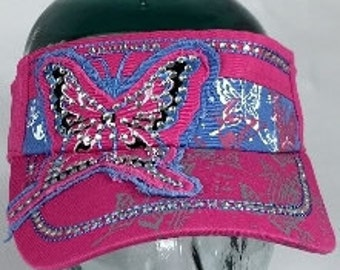 VISOR BUTTERFLY PINK print rhinestone Butterfly Pink Bling Print Visor Butterfly Pink Rhinestone Visor Butterfly Pink Print Bling Visor
