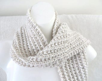 Cream Reflective Scarf, Aran Knitted Scarf, Mens Scarf, Womens Scarf, 4.75 x 72  Hand Knit
