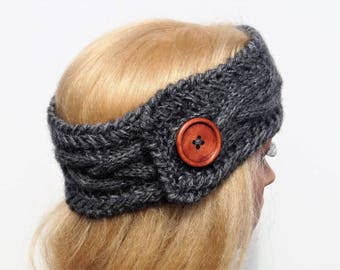 Gray Ear Warmer, Knitted Winter Headband ,Knit and Crochet Headband, Ear Warmer,Brown Headband,Crochet Headband,Knit Turban Headband