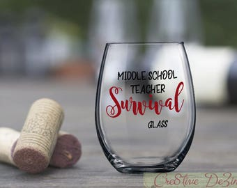 Whimsical Funny Teacher Gift, Middle School Survival Glass, Funny Teacher Glass, Middle School Student Gift, Junior High School Teacher Gift